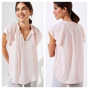 LOFT Petite Pink Embroidered Tie Neck Blouse